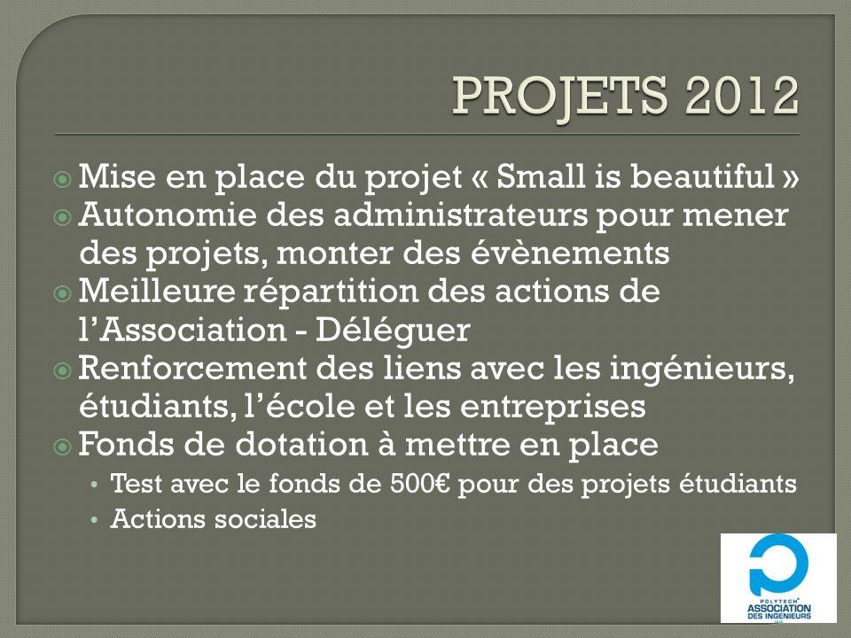 Mise en place du projet « Small is beautiful » Autonomie des administrateurs pour mener des projets, monter des évènements Meilleure répartition des a