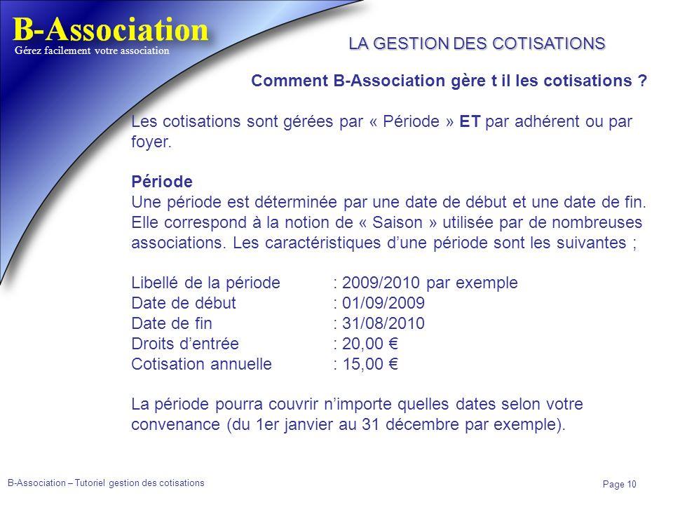 B-Association – Tutoriel gestion des cotisations Page 10 Gérez facilement votre association Comment B-Association gère t il les cotisations ? Les coti