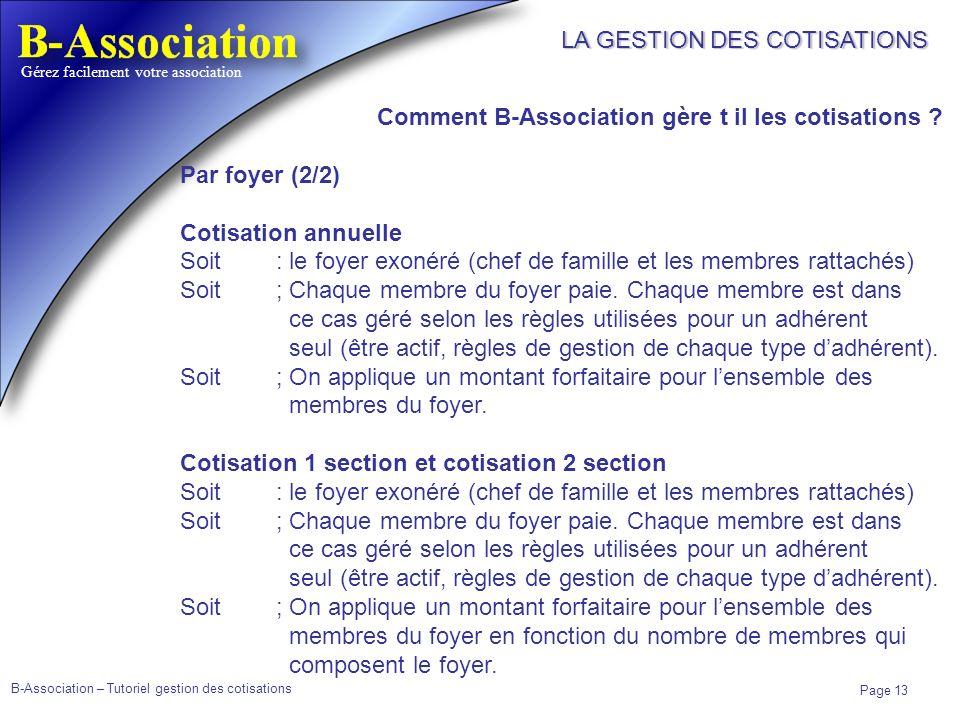 B-Association – Tutoriel gestion des cotisations Page 13 Gérez facilement votre association LA GESTION DES COTISATIONS Comment B-Association gère t il