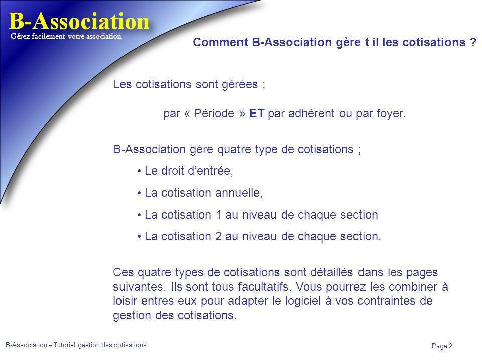 B-Association – Tutoriel gestion des cotisations Page 2 Gérez facilement votre association Comment B-Association gère t il les cotisations ? Les cotis