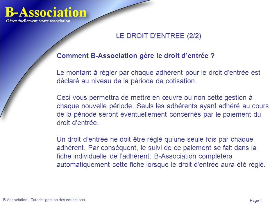 B-Association – Tutoriel gestion des cotisations Page 4 Gérez facilement votre association Comment B-Association gère le droit dentrée ? Le montant à