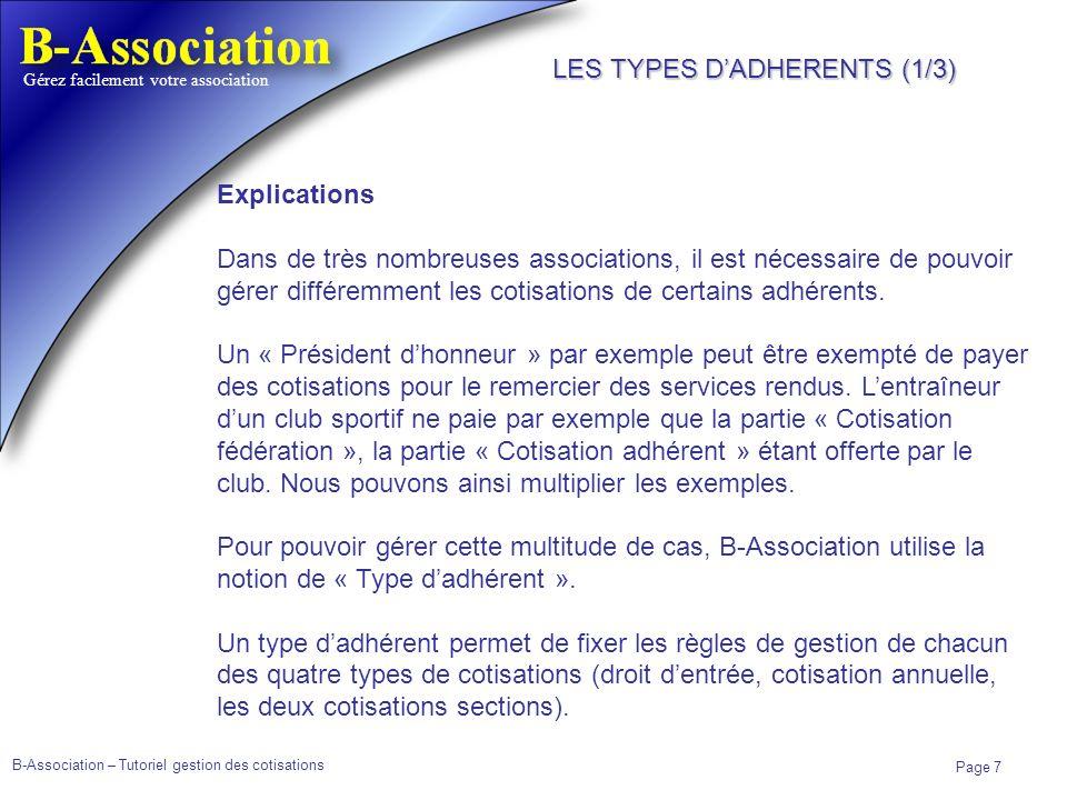 B-Association – Tutoriel gestion des cotisations Page 7 Gérez facilement votre association Explications Dans de très nombreuses associations, il est n