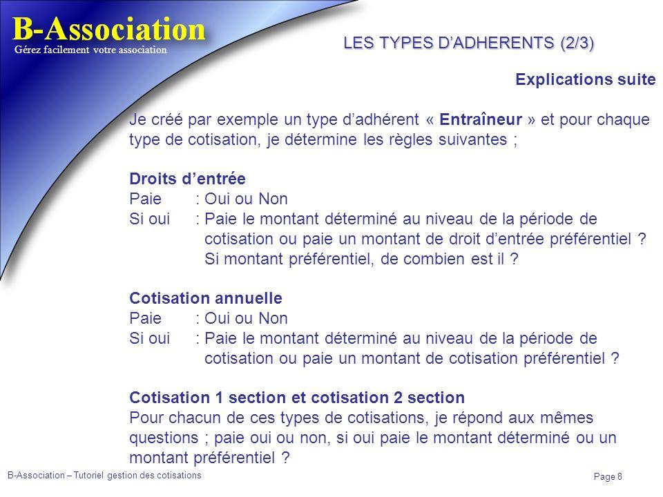 B-Association – Tutoriel gestion des cotisations Page 8 Gérez facilement votre association Explications suite Je créé par exemple un type dadhérent «