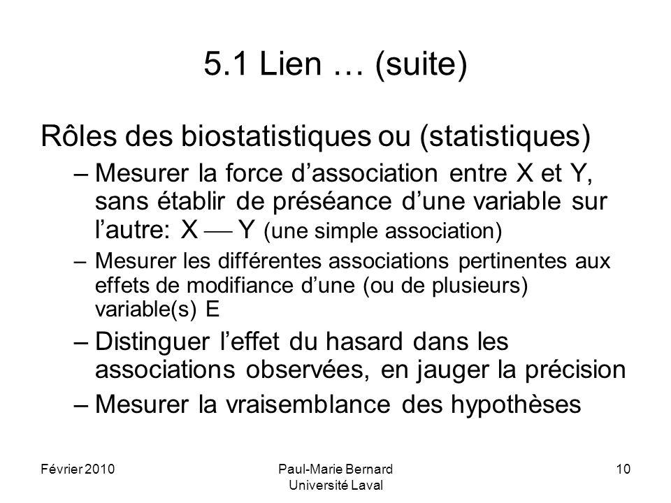 Février 2010Paul-Marie Bernard Université Laval 10 5.1 Lien … (suite) Rôles des biostatistiques ou (statistiques) –Mesurer la force dassociation entre X et Y, sans établir de préséance dune variable sur lautre: X Y (une simple association) –Mesurer les différentes associations pertinentes aux effets de modifiance dune (ou de plusieurs) variable(s) E –Distinguer leffet du hasard dans les associations observées, en jauger la précision –Mesurer la vraisemblance des hypothèses