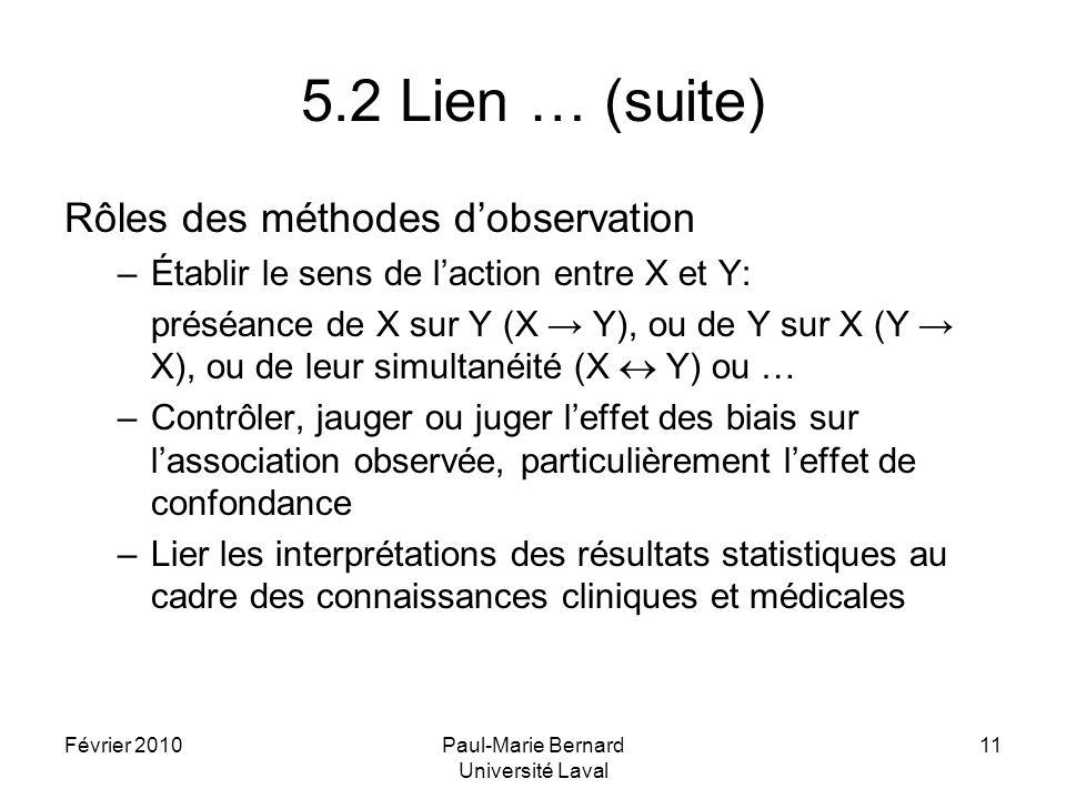 Février 2010Paul-Marie Bernard Université Laval 11 5.2 Lien … (suite) Rôles des méthodes dobservation –Établir le sens de laction entre X et Y: préséance de X sur Y (X Y), ou de Y sur X (Y X), ou de leur simultanéité (X Y) ou … –Contrôler, jauger ou juger leffet des biais sur lassociation observée, particulièrement leffet de confondance –Lier les interprétations des résultats statistiques au cadre des connaissances cliniques et médicales