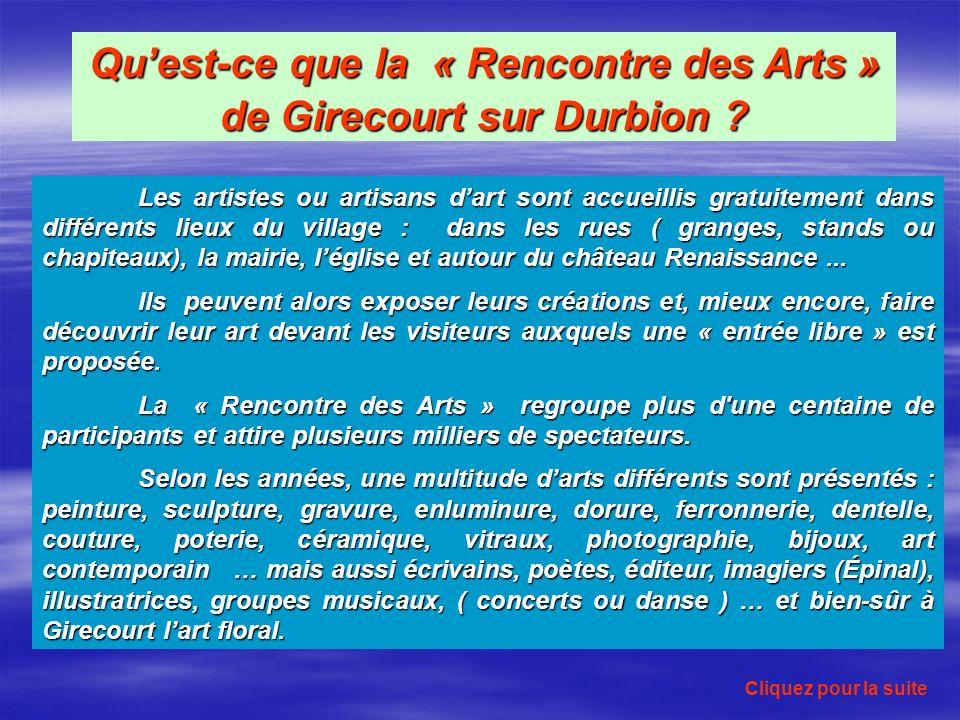 Quest-ce que la « Rencontre des Arts » de Girecourt sur Durbion .
