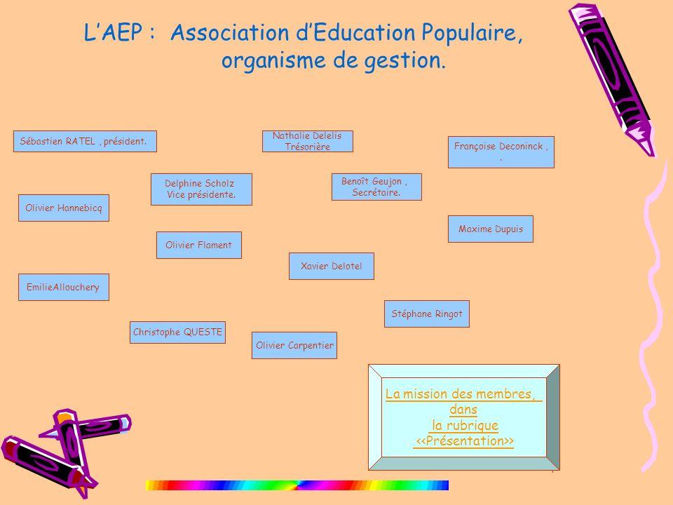 4 LAEP : Association dEducation Populaire, organisme de gestion. Sébastien RATEL, président. Olivier Carpentier Olivier Hannebicq Delphine Scholz Vice