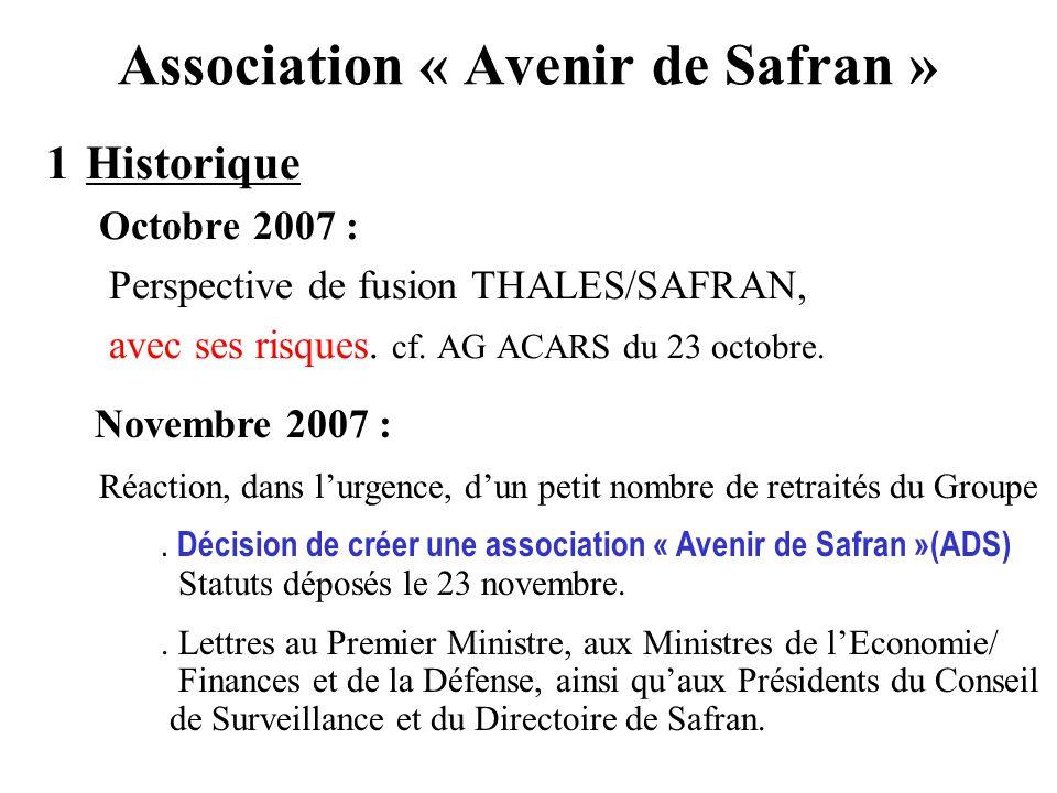Association « Avenir de Safran » 1Historique Octobre 2007 : Perspective de fusion THALES/SAFRAN, avec ses risques. cf. AG ACARS du 23 octobre. Novembr