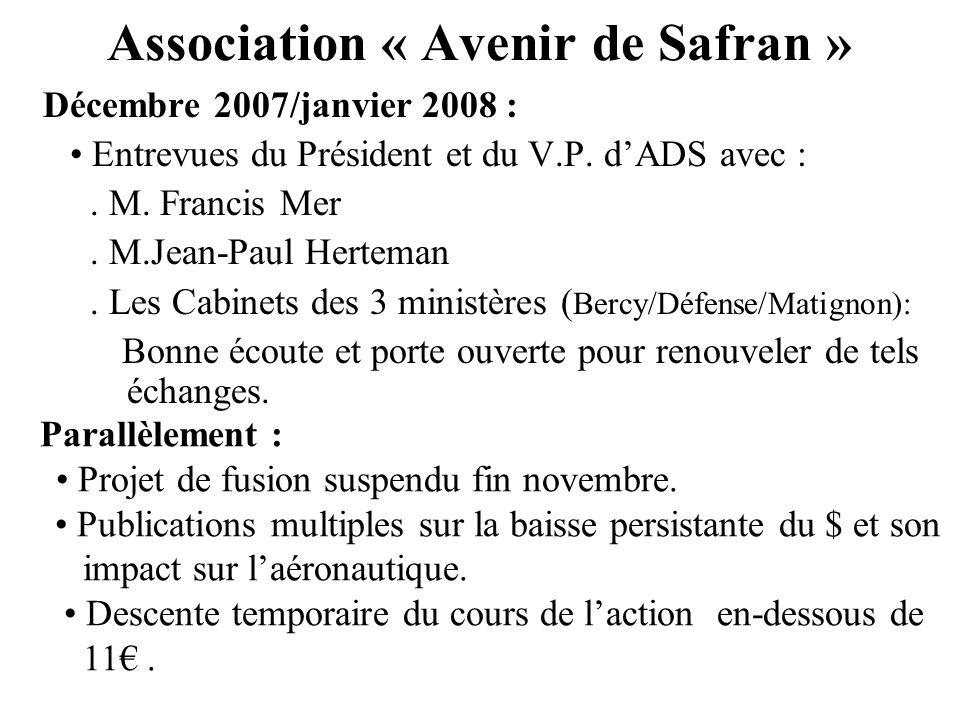 Association « Avenir de Safran » Décembre 2007/janvier 2008 : Entrevues du Président et du V.P. dADS avec :. M. Francis Mer. M.Jean-Paul Herteman. Les