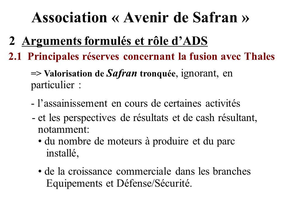 Association « Avenir de Safran » 2 Arguments formulés et rôle dADS 2.1 Principales réserves concernant la fusion avec Thales => Valorisation de Safran