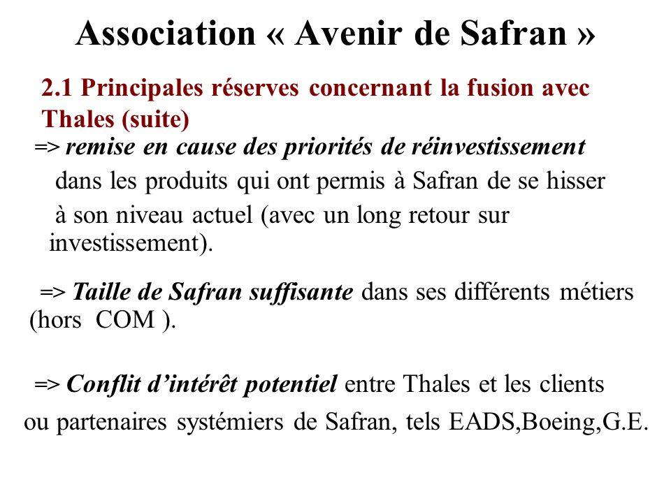 Association « Avenir de Safran » => remise en cause des priorités de réinvestissement dans les produits qui ont permis à Safran de se hisser à son niv