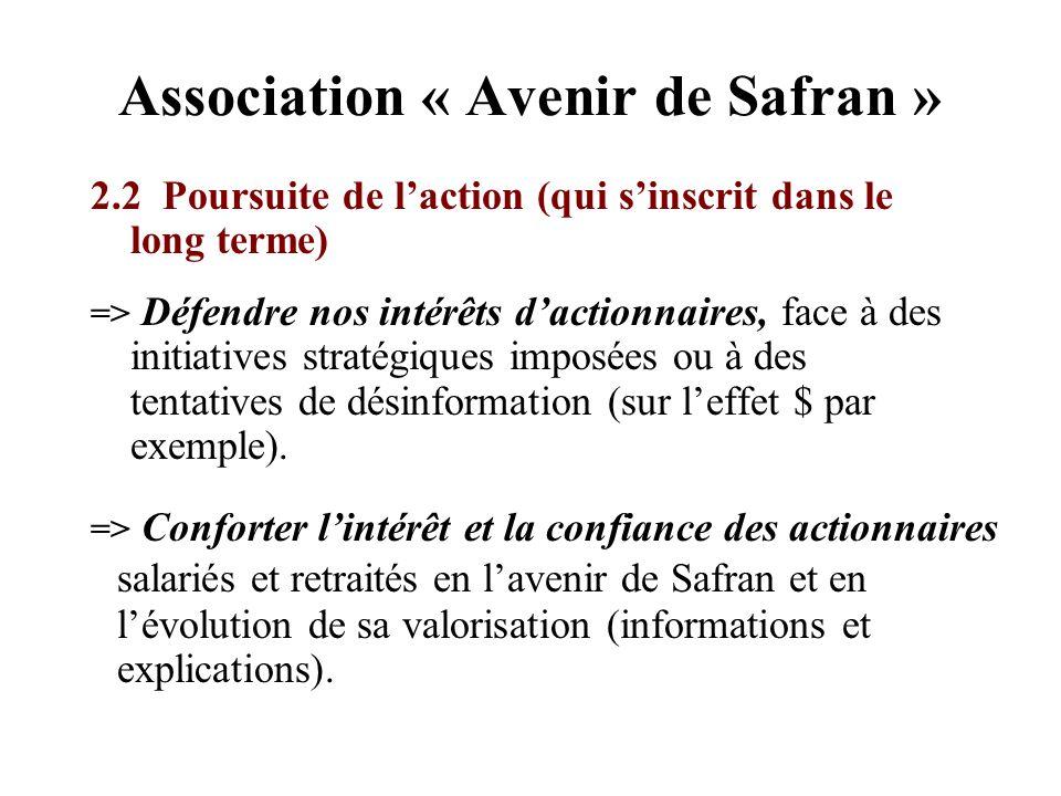Association « Avenir de Safran » 2.2 Poursuite de laction (qui sinscrit dans le long terme) => Défendre nos intérêts dactionnaires, face à des initiat