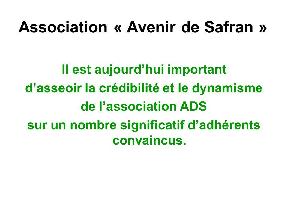 Association « Avenir de Safran » Il est aujourdhui important dasseoir la crédibilité et le dynamisme de lassociation ADS sur un nombre significatif da