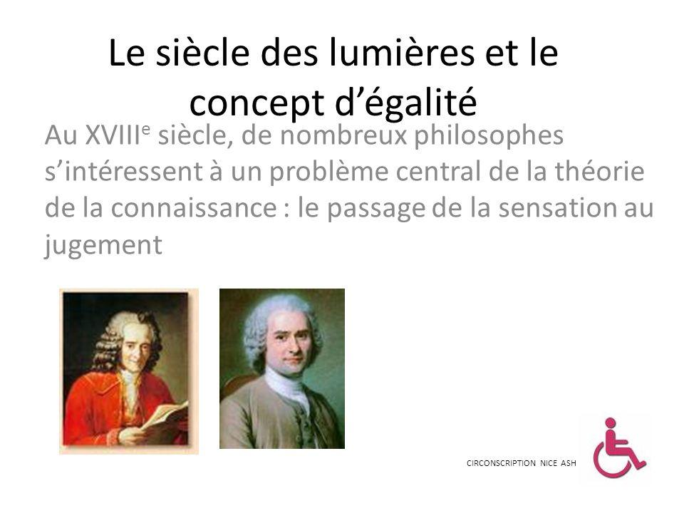 Le siècle des lumières et le concept dégalité Au XVIII e siècle, de nombreux philosophes sintéressent à un problème central de la théorie de la connai
