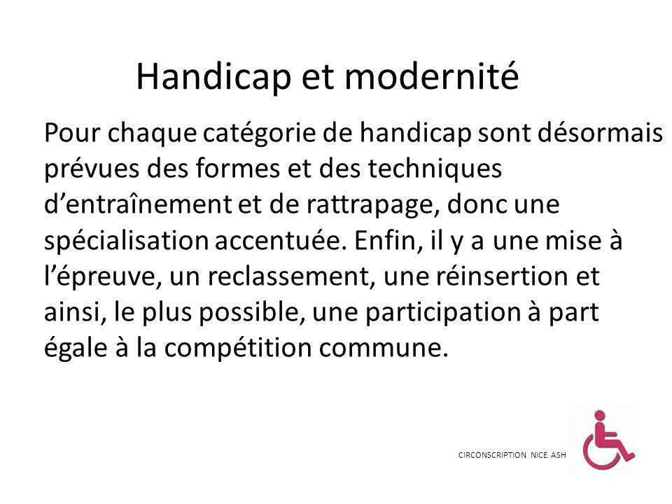 Handicap et modernité Pour chaque catégorie de handicap sont désormais prévues des formes et des techniques dentraînement et de rattrapage, donc une s