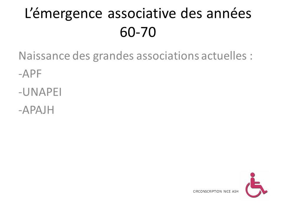 Lémergence associative des années 60-70 Naissance des grandes associations actuelles : -APF -UNAPEI -APAJH CIRCONSCRIPTION NICE ASH