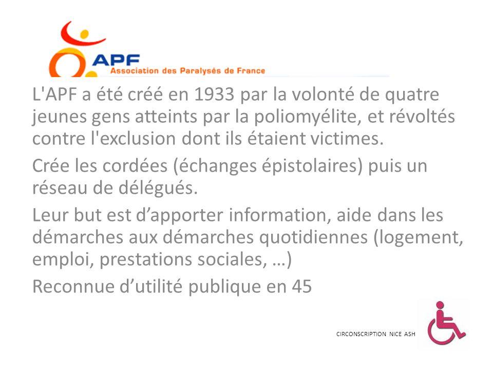 L'APF a été créé en 1933 par la volonté de quatre jeunes gens atteints par la poliomyélite, et révoltés contre l'exclusion dont ils étaient victimes.