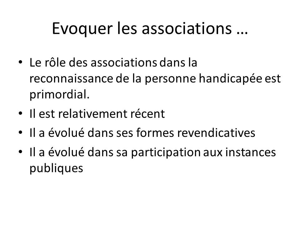Evoquer les associations … Le rôle des associations dans la reconnaissance de la personne handicapée est primordial. Il est relativement récent Il a é