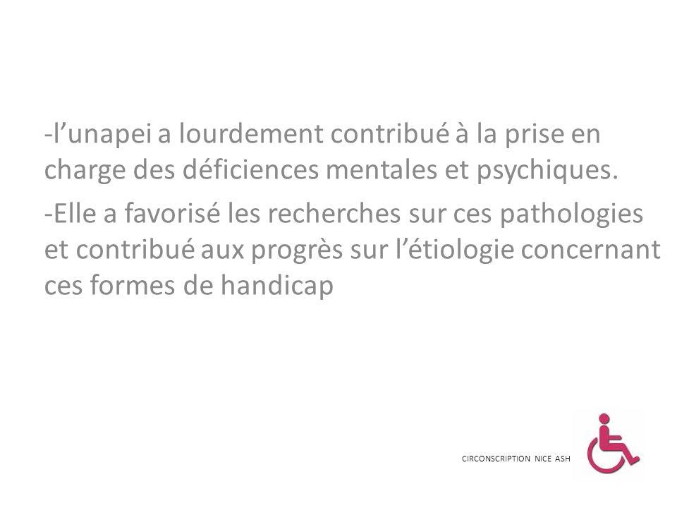 -lunapei a lourdement contribué à la prise en charge des déficiences mentales et psychiques. -Elle a favorisé les recherches sur ces pathologies et co