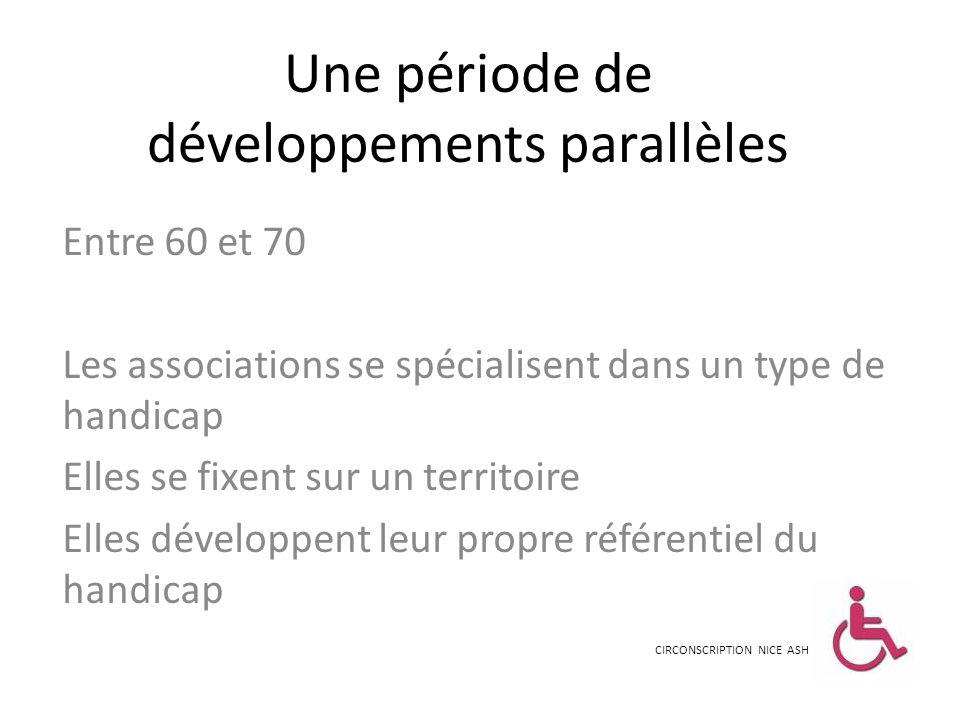 Une période de développements parallèles Entre 60 et 70 Les associations se spécialisent dans un type de handicap Elles se fixent sur un territoire El
