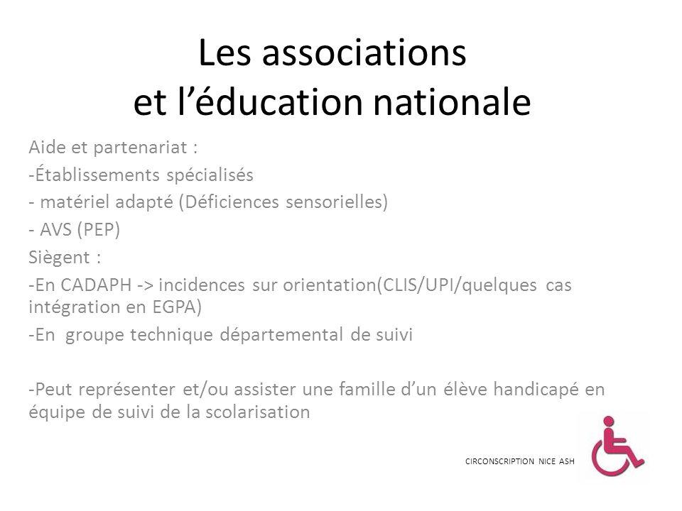 Les associations et léducation nationale Aide et partenariat : -Établissements spécialisés - matériel adapté (Déficiences sensorielles) - AVS (PEP) Si