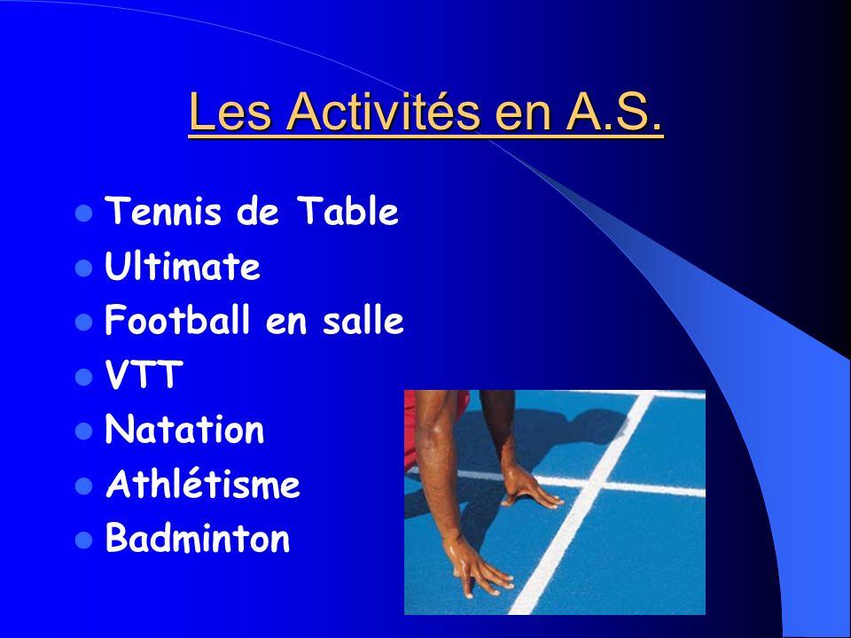 Les Activités en A.S. Tennis de Table Ultimate Football en salle VTT Natation Athlétisme Badminton