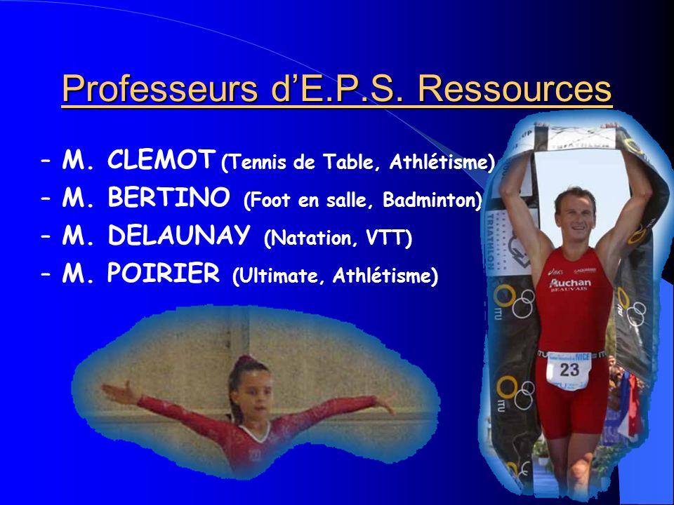 Professeurs dE.P.S. Ressources – M. CLEMOT (Tennis de Table, Athlétisme) – M.