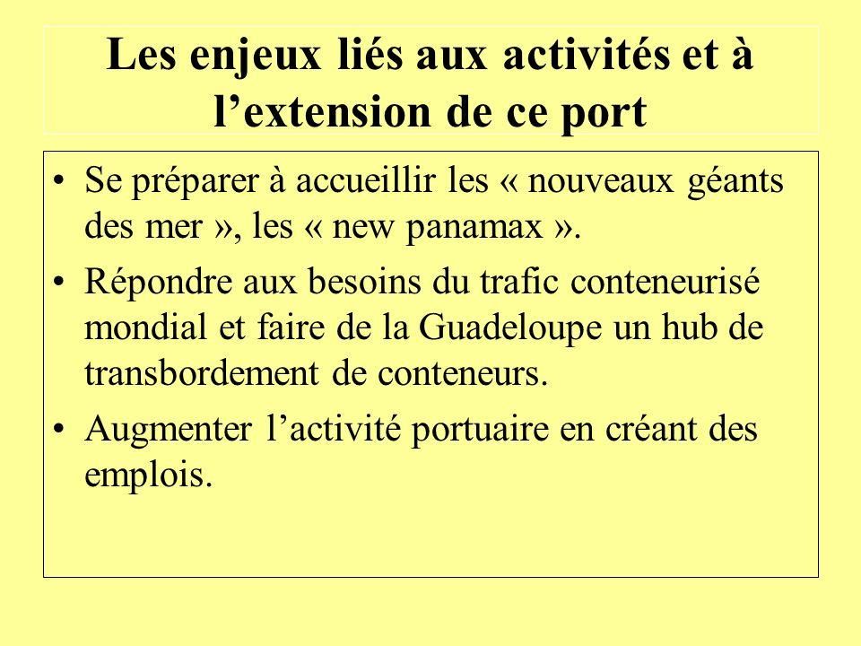 Les enjeux liés aux activités et à lextension de ce port Se préparer à accueillir les « nouveaux géants des mer », les « new panamax ». Répondre aux b