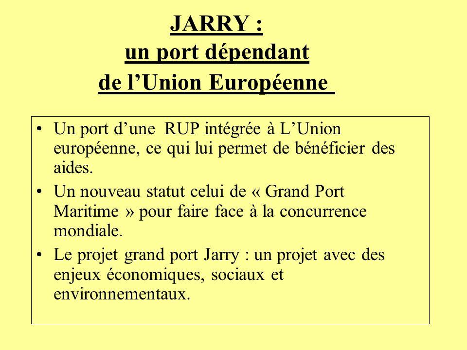 JARRY : un port dépendant de lUnion Européenne Un port dune RUP intégrée à LUnion européenne, ce qui lui permet de bénéficier des aides. Un nouveau st