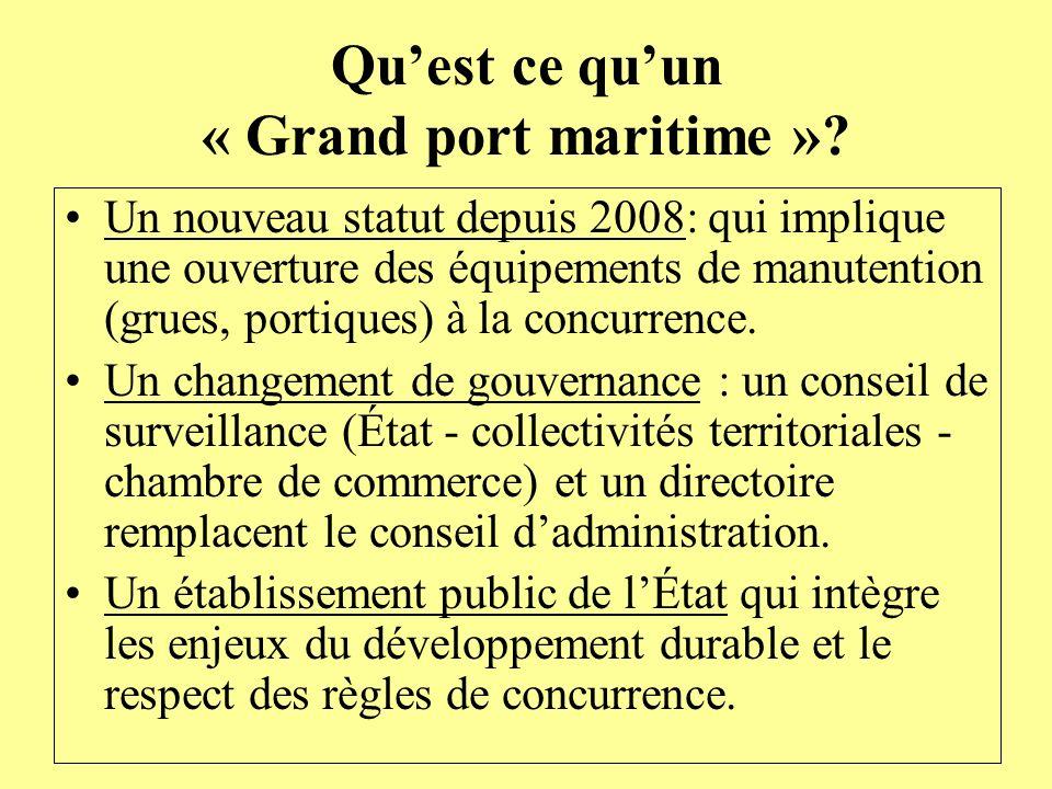 Quest ce quun « Grand port maritime »? Un nouveau statut depuis 2008: qui implique une ouverture des équipements de manutention (grues, portiques) à l