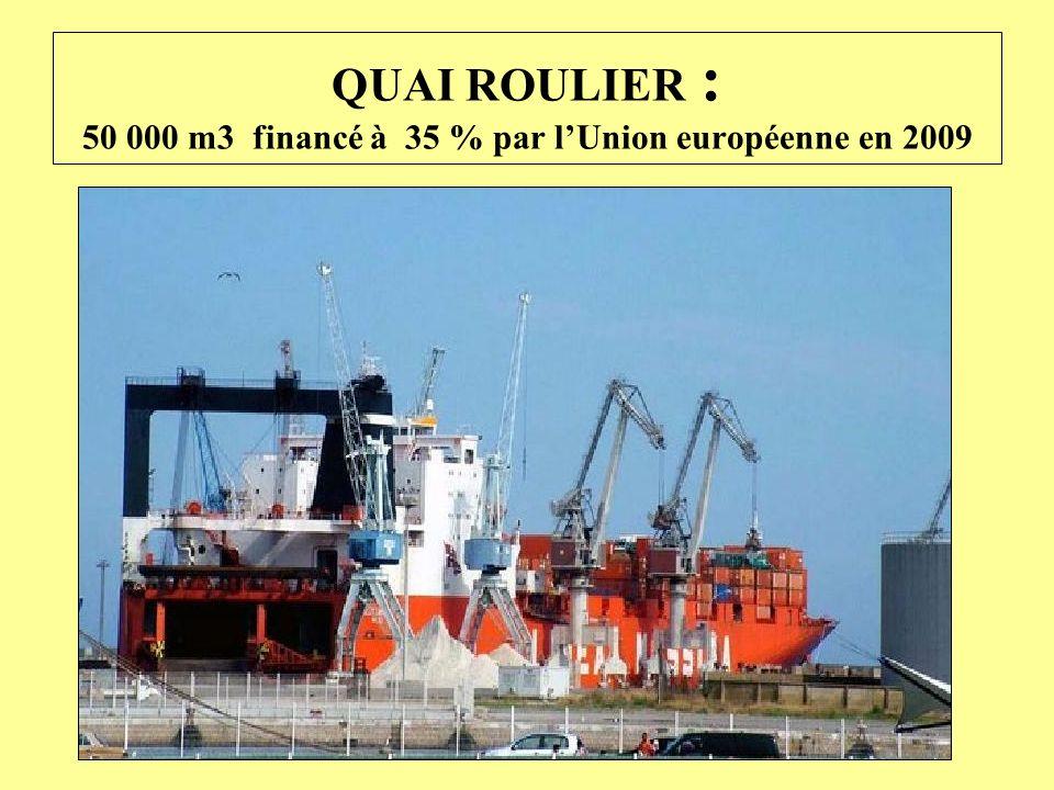 QUAI ROULIER : 50 000 m3 financé à 35 % par lUnion européenne en 2009