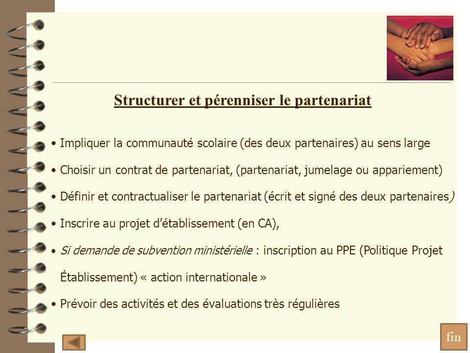 Impliquer la communauté scolaire (des deux partenaires) au sens large Choisir un contrat de partenariat, (partenariat, jumelage ou appariement) Définir et contractualiser le partenariat (écrit et signé des deux partenaires) Inscrire au projet détablissement (en CA), Si demande de subvention ministérielle : inscription au PPE (Politique Projet Établissement) « action internationale » Prévoir des activités et des évaluations très régulières Structurer et pérenniser le partenariat fin