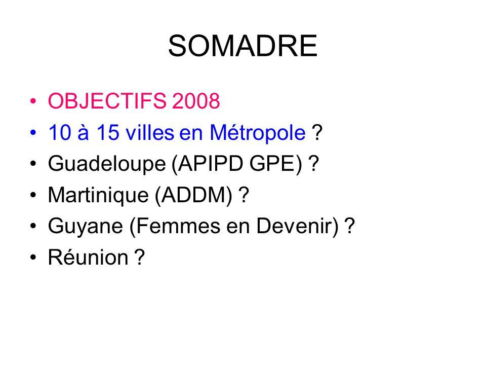 SOMADRE OBJECTIFS 2008 10 à 15 villes en Métropole .