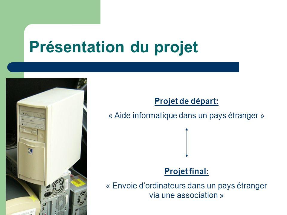 Présentation du projet Projet de départ: « Aide informatique dans un pays étranger » Projet final : « Envoie dordinateurs dans un pays étranger via un