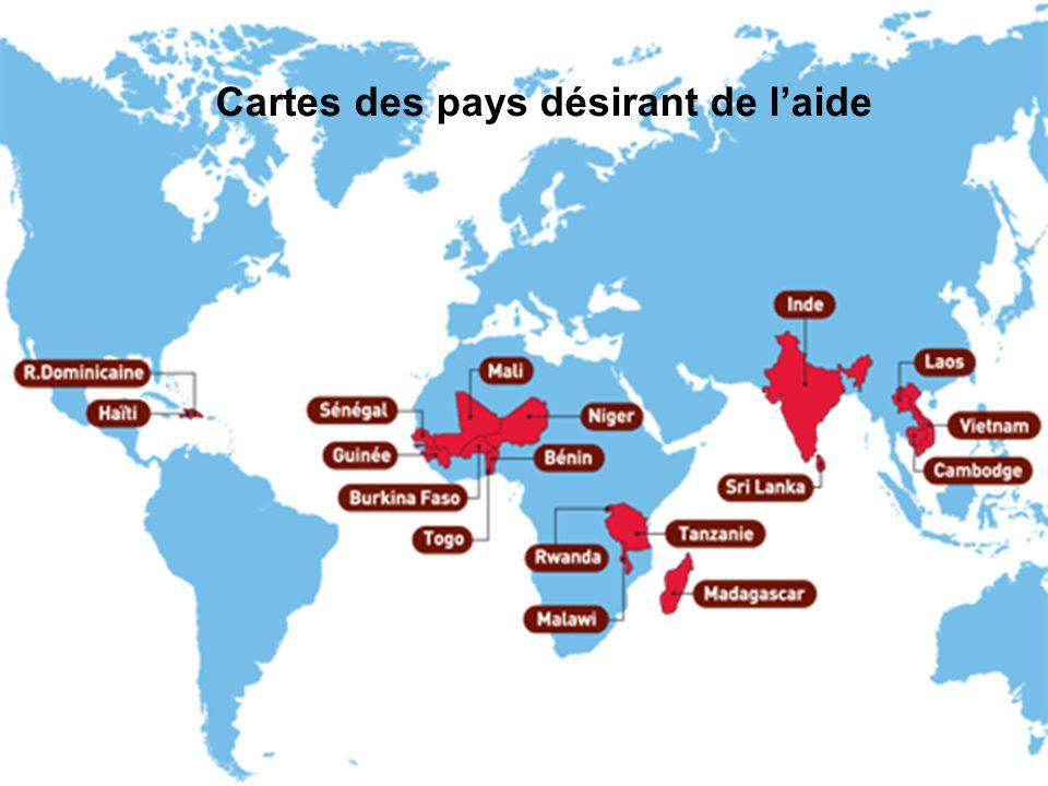Cartes des pays désirant de laide