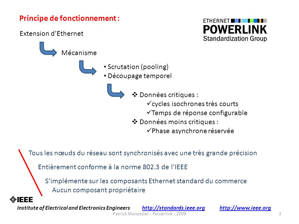 Principe de fonctionnement : Extension dEthernet Mécanisme Scrutation (pooling) Découpage temporel Données critiques : cycles isochrones très courts T