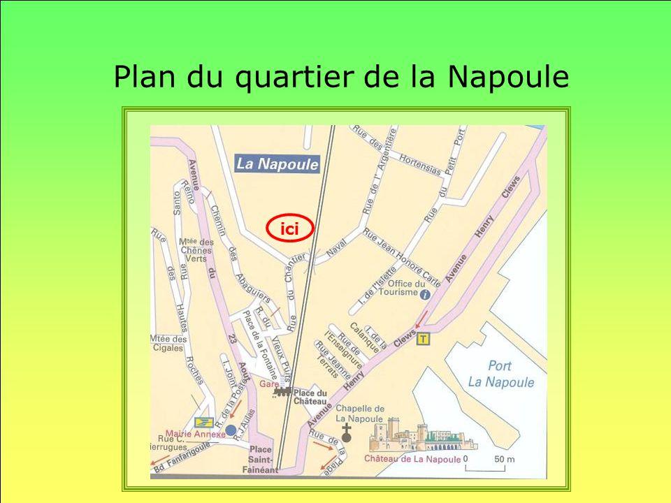 Plan du quartier de la Napoule ici