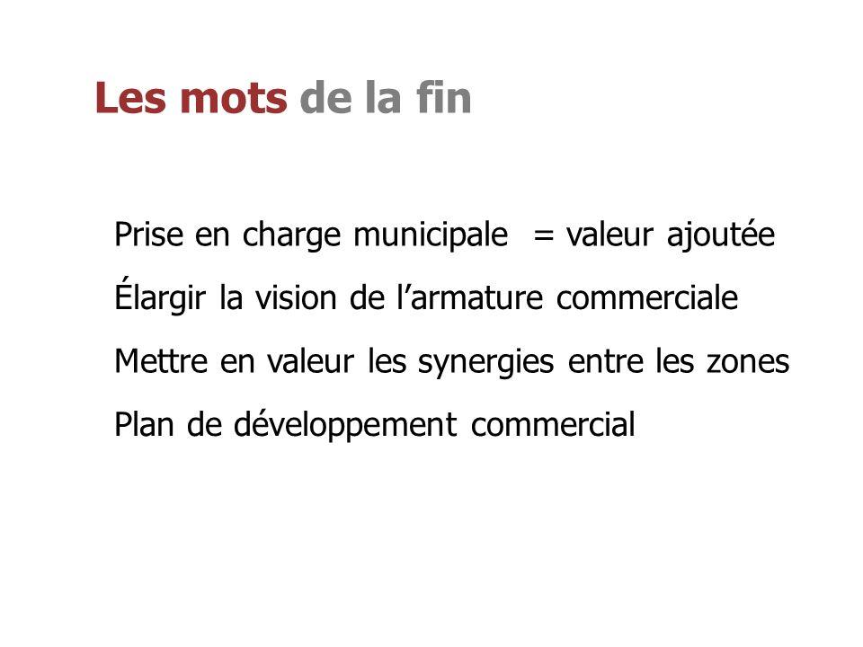 Les mots de la fin Prise en charge municipale = valeur ajoutée Élargir la vision de larmature commerciale Mettre en valeur les synergies entre les zones Plan de développement commercial