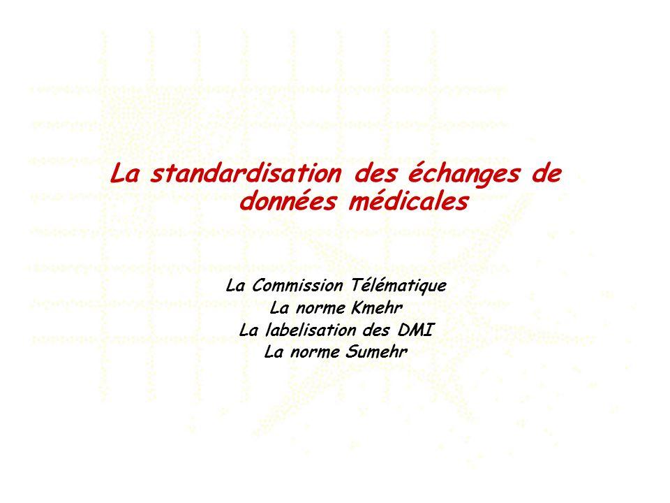 La standardisation des échanges de données médicales La Commission Télématique La norme Kmehr La labelisation des DMI La norme Sumehr