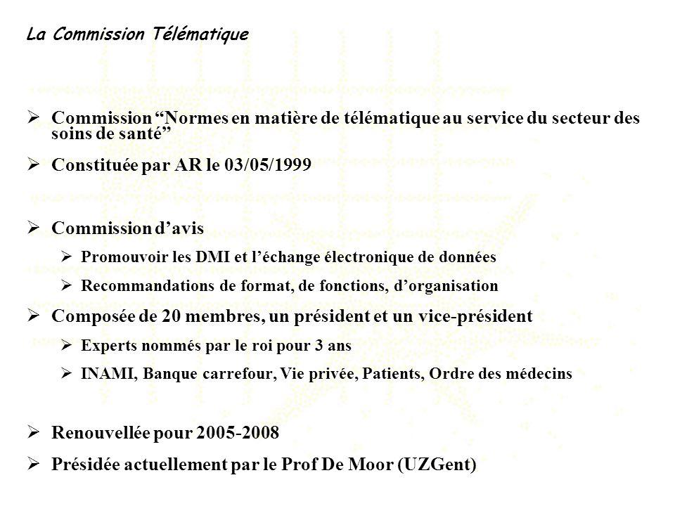 La Commission Télématique Commission Normes en matière de télématique au service du secteur des soins de santé Constituée par AR le 03/05/1999 Commiss