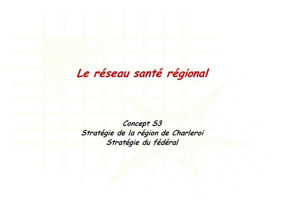 Le réseau santé régional Concept S3 Stratégie de la région de Charleroi Stratégie du fédéral