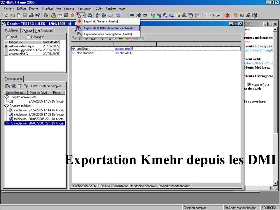 Interface dédiée au projet pilote Exportation Kmehr depuis les DMI