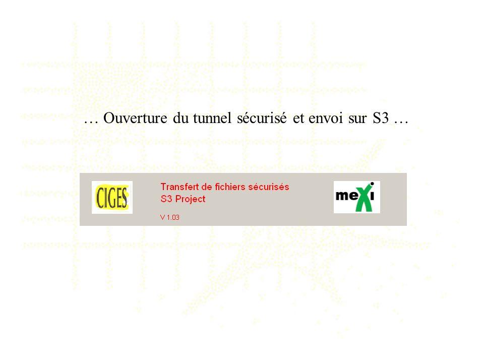 … Ouverture du tunnel sécurisé et envoi sur S3 …