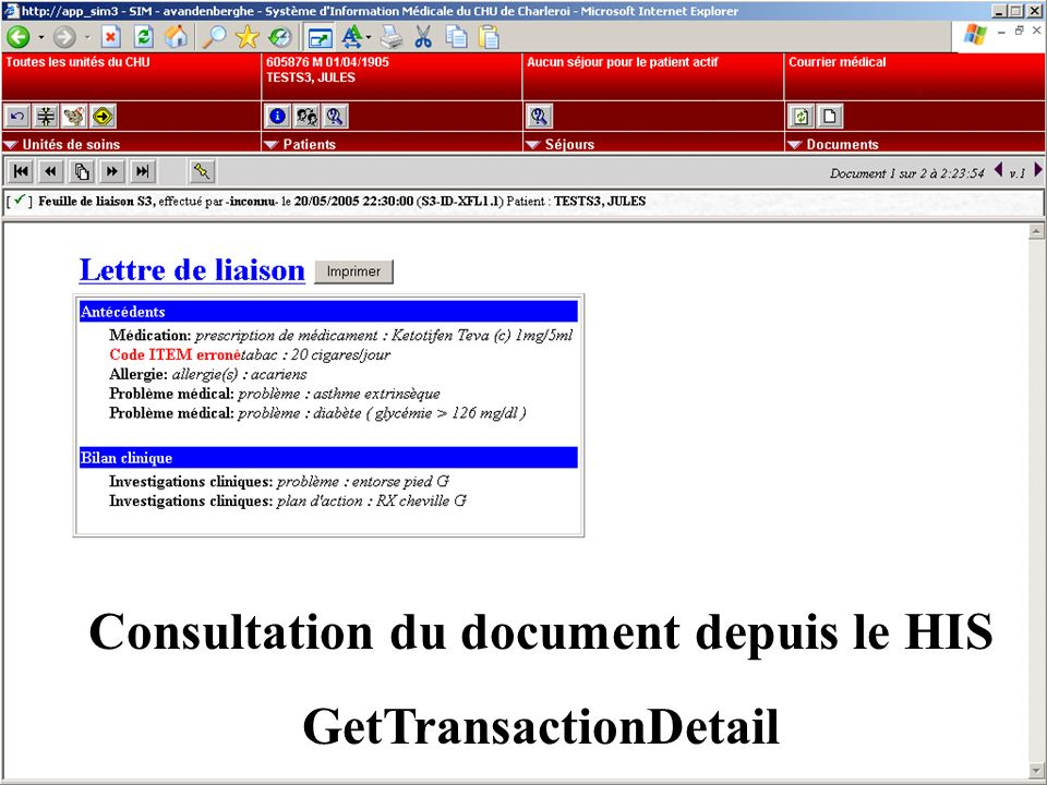 Consultation du document depuis le HIS GetTransactionDetail