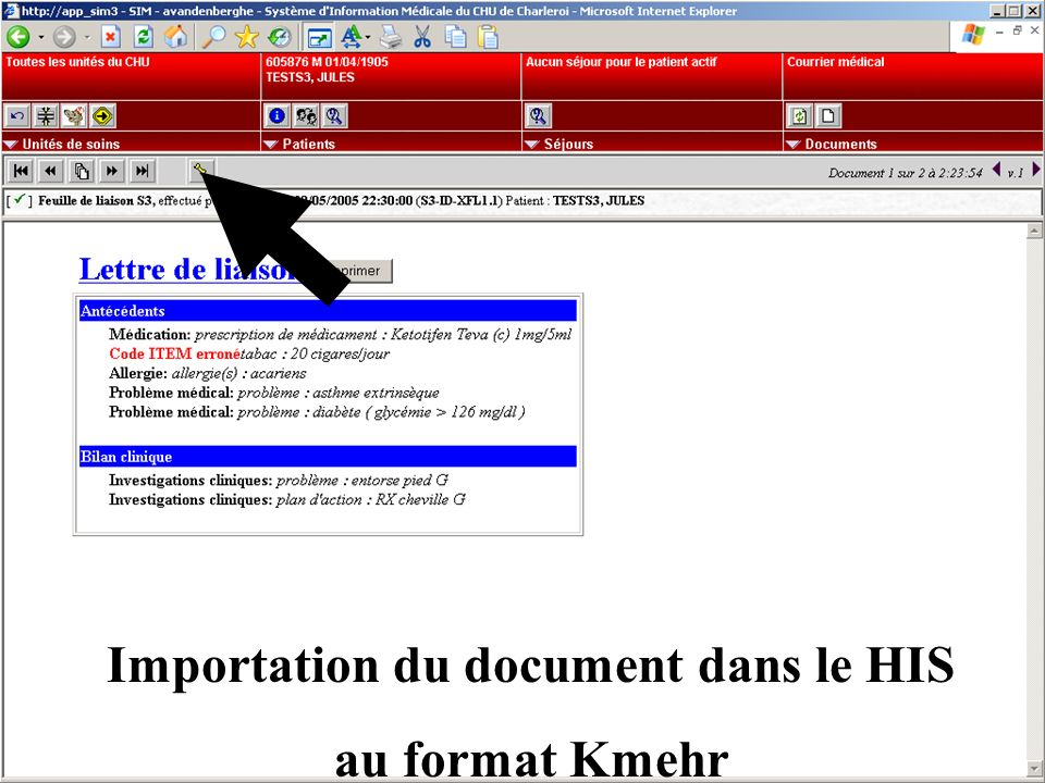 Importation du document dans le HIS au format Kmehr