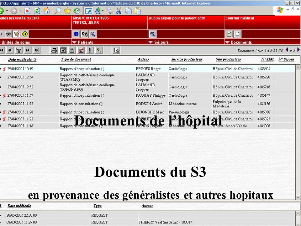 Documents de lhôpital Documents du S3 en provenance des généralistes et autres hopitaux Documents de lhôpital Documents du S3 en provenance des généra