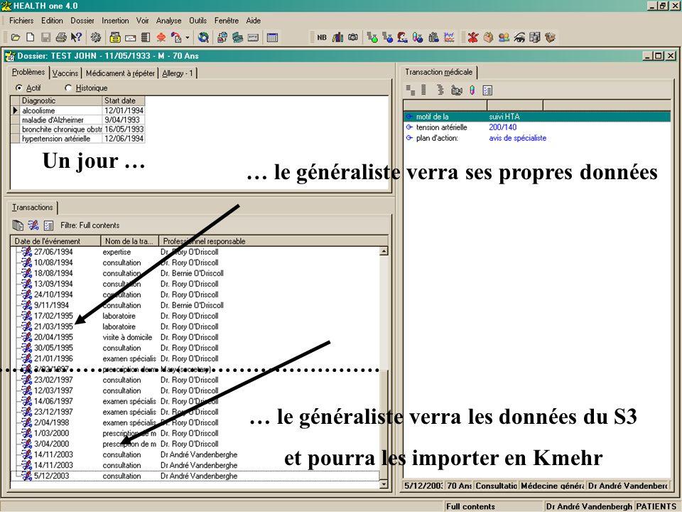 … le généraliste verra ses propres données … le généraliste verra les données du S3 et pourra les importer en Kmehr Un jour …