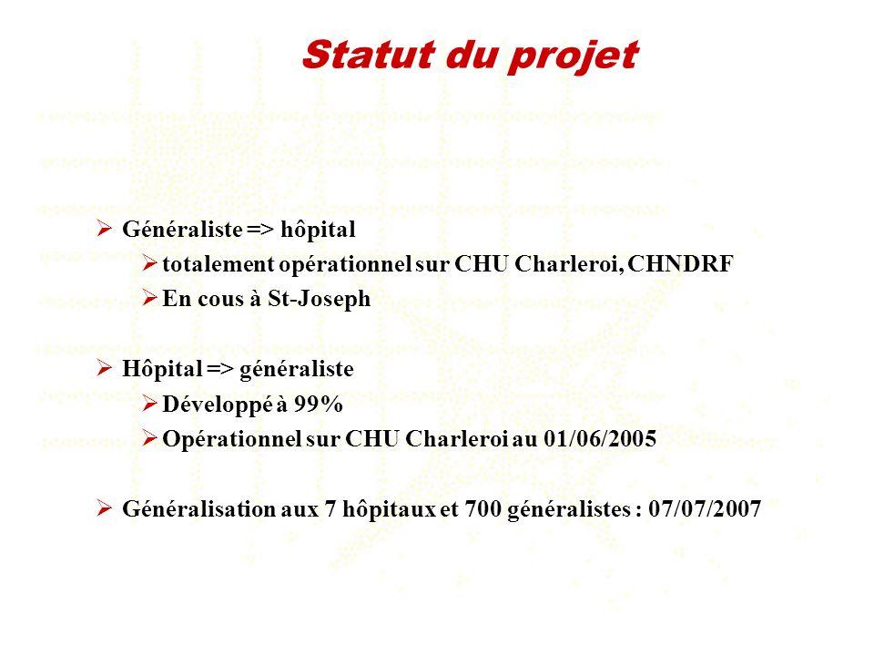 Généraliste => hôpital totalement opérationnel sur CHU Charleroi, CHNDRF En cous à St-Joseph Hôpital => généraliste Développé à 99% Opérationnel sur C