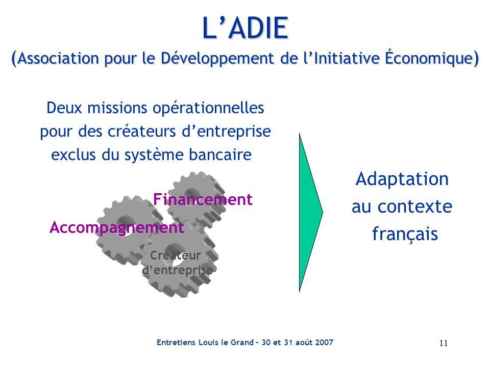 Entretiens Louis le Grand – 30 et 31 août 2007 11 Deux missions opérationnelles pour des créateurs dentreprise exclus du système bancaire LADIE ( Asso