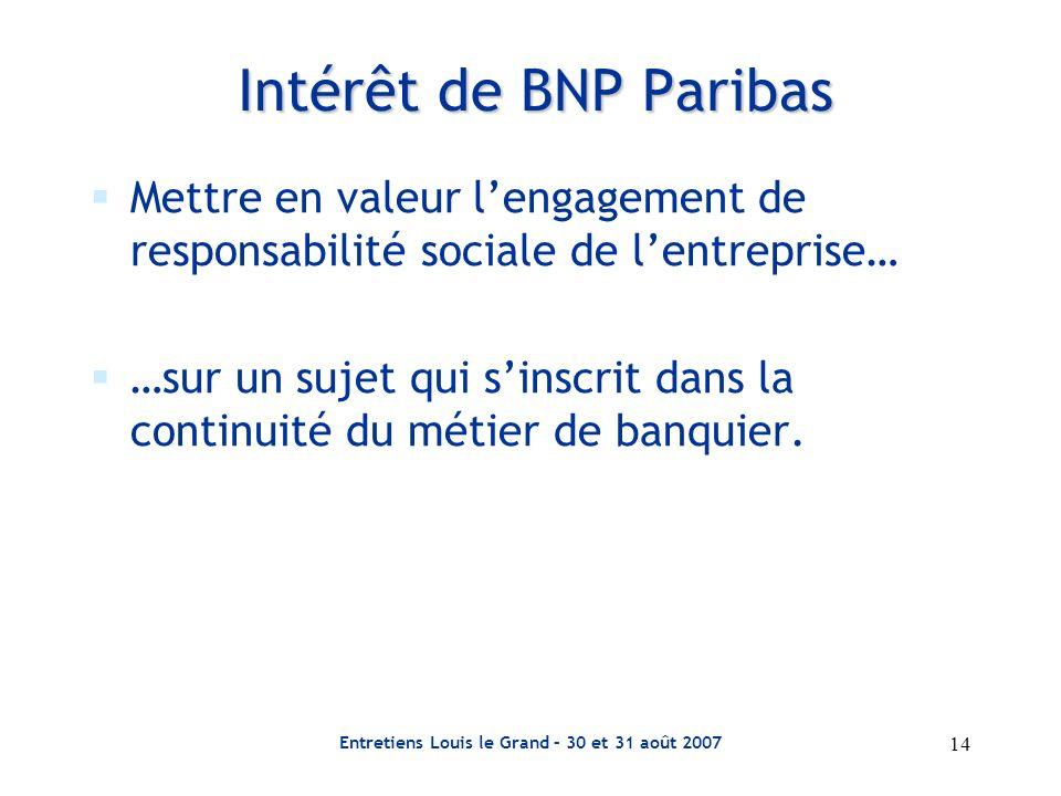 Entretiens Louis le Grand – 30 et 31 août 2007 14 Intérêt de BNP Paribas Mettre en valeur lengagement de responsabilité sociale de lentreprise… …sur u